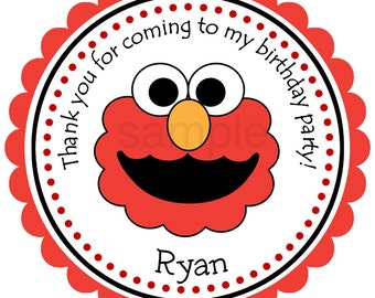 Elmo Personalized Stickers, Labels, Seals, Gift Tags, Birthday, Sesame Street Party - Set of 12