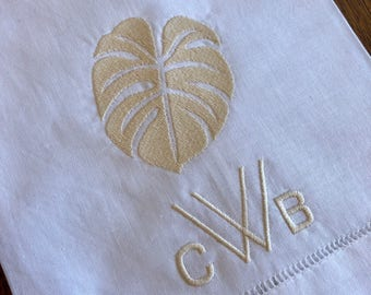 Monogram linen guest towel Free - Shipping