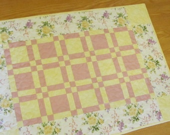 Pink, Yellow and Floral Table Runner