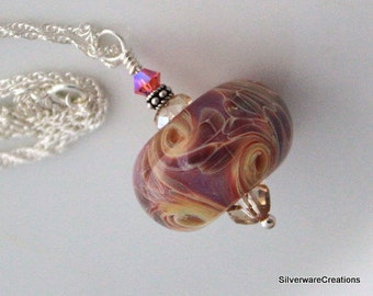 BORO Bead PENDANT Lampwork - Sterling Silver Chain - Ready to Ship - Made in Usa By Jewel Suchy American Lampwork Artist