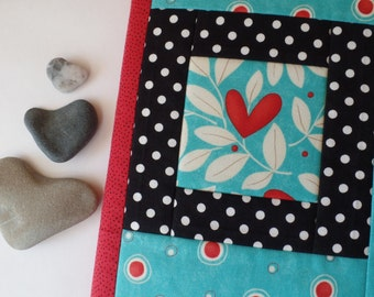 Fabric Journal Cover, Love, Hearts, Polka Dots, Refillable, Valentine's Day