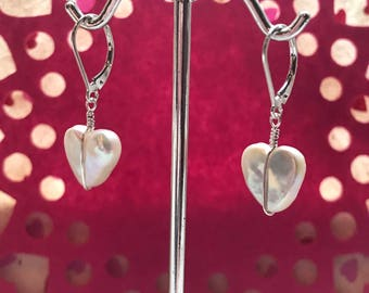 Pretty Freshwater Pearl Hearts Wire Wrapped In Sterling Silver On Lever Back So Sweet Make A Great Gift Heart Earrings