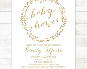 Gold Baby Shower Invitation Printable, Baby Shower Invitation Gender Neutral, Gold Wreath Baby Shower Invitation, Gold Baby Shower Invite