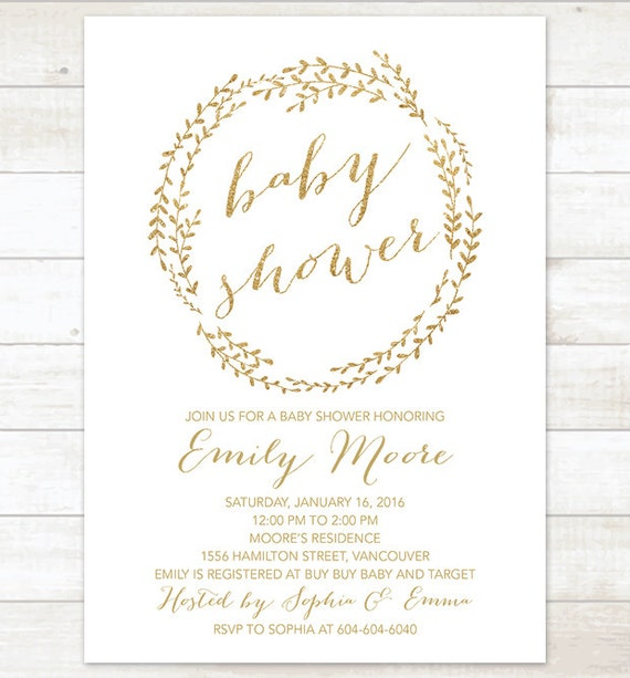 Gold baby shower invitation printable baby shower invitation filmwisefo