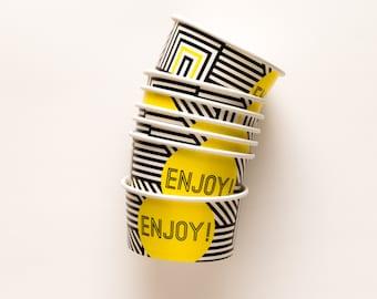 10 Ice Cream Cups  - Black & White - Geometric