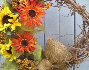 Thanksgiving Wreath, Fall Wreath, Rustic Home Decor, Rustic Door Decor, Country Home Decor, Front Door Wreath, Wreaths, Sunflower Wreath