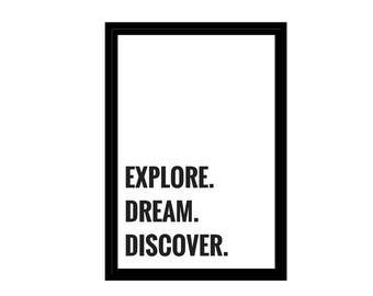 """Explore. Dream. Discover. Travel Quote, Minimalist Photo, Digital Download, Inspirational Quotes, 4x6"""", A1, A2, A3, A4, Canvas File, Poster"""