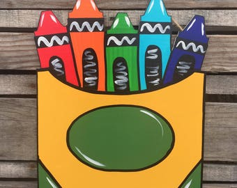 Crayon Box, Door Hanger, Wall Decor, School art
