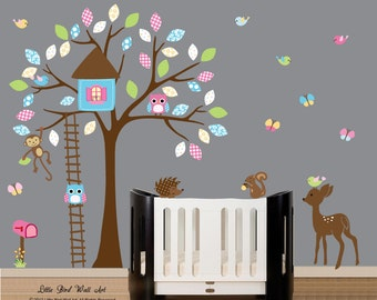 Wall decal nursery wall vinyl pattern decal owl tree wall decal