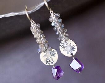 Amethyst Earrings, Sterling Silver Statement Earrings, Labradorite Earrings, Bohemian Wedding - Raindrops - LAST PAIR