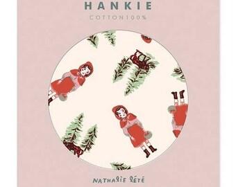 Natari-lete Handkerchief lovely Little Red Riding Hood print Hankie cotton 100%