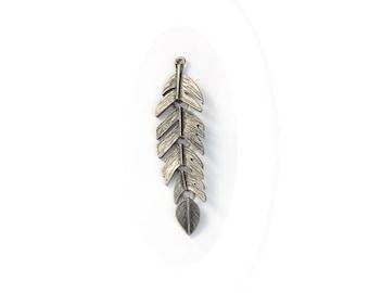 large, leaf pendant 63 mm x 17 mm, hole 1.6 mm, lead, nickel free