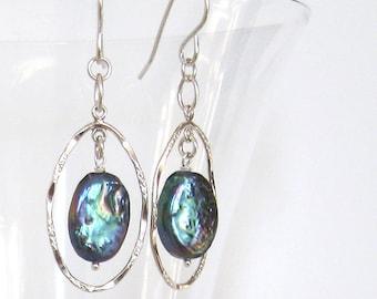 Blue Rainbow Baroque Pearl Oval Hoop Earrings, Sterling Silver Ear Wire Options, June Birthstone