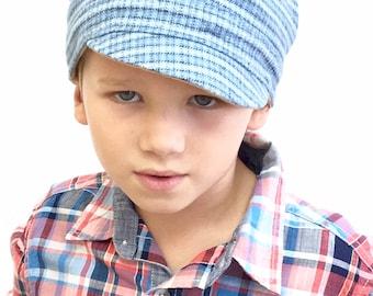 Children's Hat, Boys Hat, Newsboy Boy Hat, Fabric Hat, Boys Cap, Newsboy Cap, Gift for Boy, Chemo Boys Hat, Kid Newsboy Cap, Flap Cap Boys