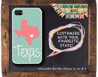 Texas State Pride iPhone Case, Personalized iPhone Case, Fits iPhone 4, 4s, iPhone 5, 5s, 5c, iPhone 6, Phone Cover, Phone Case