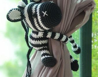 Zebra curtain tie back, cotton yarn crochet zebra, amigurumi.