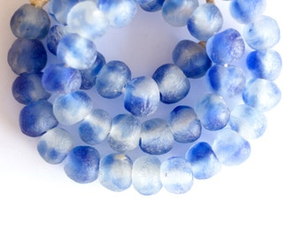 Blue white African glass, Ghanaian bead, Krobo beads, Recycled glass, Round African beads, Powder glass, Tribal jewelry supply, Ethnic boho