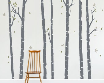Birch Trees Forest Wall Decal - Vinyl Wall Decal, Birch Forest Wall Decal, Woodlands Nursery Theme, Nursery Decal, Forest Wall Art - BFND