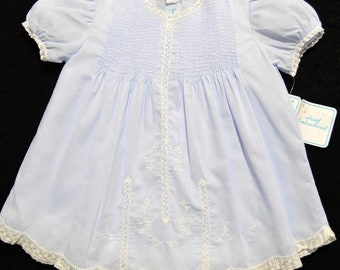 Hand embroidered NB/3M blue batiste dress with French lace and matching slip