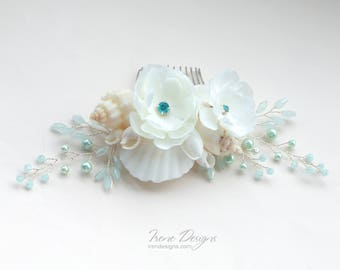 Ivory and sky blue beach wedding floral headpiece. Mermaid Ivory and sky blue seashells hair comb. Wedding floral Headpiece