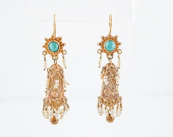 Dangle Drop Earrings Mid Century Cabochon Cut Turquoise & Seed Pearls in 18k Yellow Gold