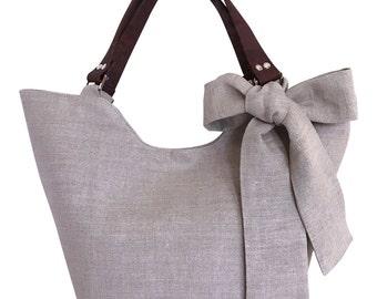 Natural Linen Tote / Beach Bag / Summer Bag / Mai Tai Cabana Tote