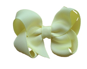 Light yellow hair bow - light yellow bow, toddler hair bows, baby bow, girls hair bows, yellow hair bows, yellow bows, girls bows, hairbows