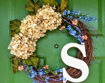 Spring Wreath-Spring Door Wreath-Spring Monogram Wreath-Monogrammed Spring Wreath-Spring Door Decor-Floral Wreath-Grapevine Wreath-Hydrangea