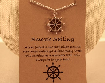 Smooth Sailing: Smooth Sailing Ship Wheel Wish Necklace, Sailing, Best Friends, Nautical, Anchor Jewelry, Ship Wheel, Ocean, Wish Jewelry
