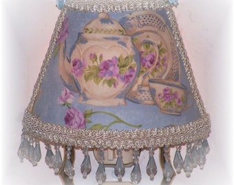 Teapot and Teacup Purple Violet Cottage Roses Victorian Chic NIGHT LIGHT with Lt Blue Beading