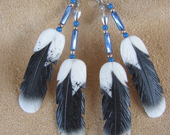 Silver Hawk Studio~The Original Bone Feather Jewelry! Harris's Hawk earrings