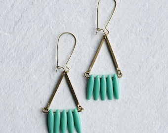 Turquoise Earrings, Geometric Earrings, Spike Earrings, Industrial Earrings, December Birthstone, December Birthday