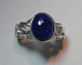 Ladies 4 Band Lapis Lazuli Puzzle Ring