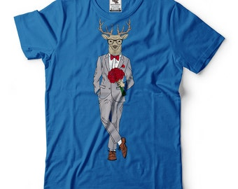 St Valentine's Day T-Shirt Hipster Deer Shirt Funny Valentine's Day Gift