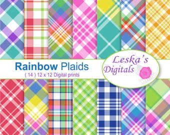 Digital Scrapbooking Plaids, Colorful Bright Plaid Digital Paper, Plaid Digital Paper set, Plaid Paper Pack in Rainbow Colors, Printables