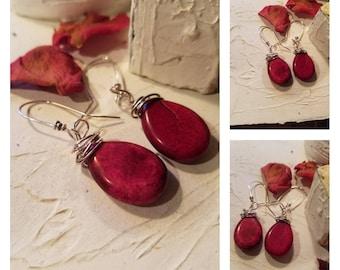 Urban Rustic Natural Burgundy Red Howlite Earrings