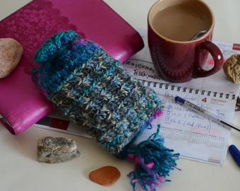 BLUESKY Crocheted POUCH ( best for a TAROT deck). Synthetic materials. One of a kind.