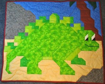 Dinosaur quilt pattern in wall, crib, and lap size - PDF