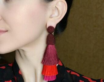 Ombre Red Tassel Earrings Layered Tassel Earrings Burgundy Tiered Tassel Earrings Fringe Statement Earrings,Red Long Tassel Earrings