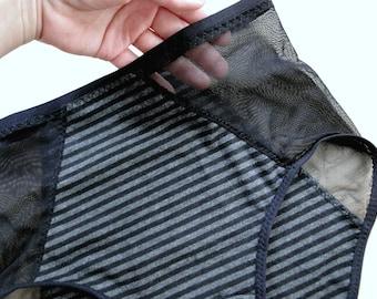 Sheer see-through panties, high waist underwear, made to measure