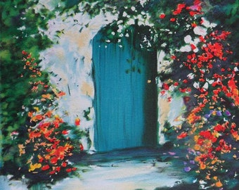 ROBIC Raphaël : The flowery door - Original signed LITHOGRAPH #300 copies + certificate