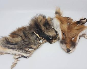 Real fur mask fox cayote raccoondog