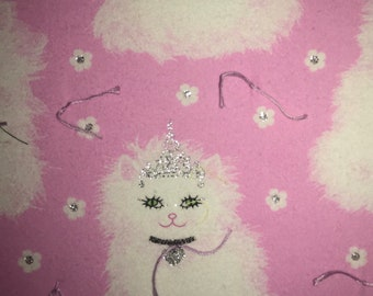 Pink With White Cats and Silver Crowns Blanket   ** all hand stitched **  32.5X39