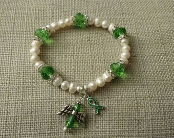 Gallbladder Cancer Awareness Bracelet, Adult size, beads, angel charm, ribbon charm, Kelly green