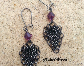 Amethyst Micro Chainmaille Earrings / Austrian Crystal Earrings / Amethyst Earrings / Chainmail Crystal Earrings / Amethyst Chainmaille