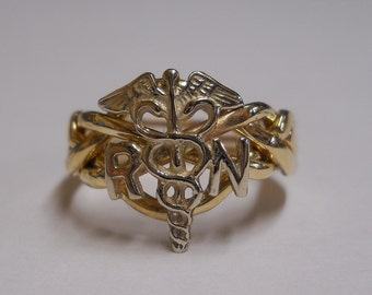 Ladies Four Band Nurse's Caduceus Sterling Silver or Gold Puzzle Ring 4RN