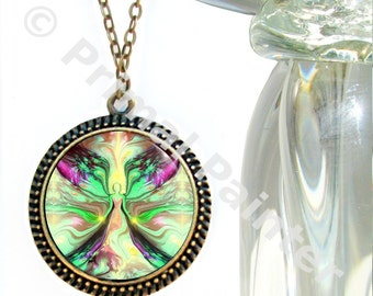 """Pastel Green Yellow Jewelry, Reiki Attuned Angel Pendant Necklace """"Growth"""""""