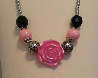 girls womens necklace chunky bubblegum black silver pink rose damask rhinestone elegant