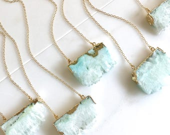 Aqua Druzy Necklace. Geode Necklace. Druzy Jewelry. Stone Necklace. Sea Foam Aqua Gold Necklace.  Chunky Necklace. Gift.