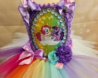 My little pony tutu dress, twilight sparkle and pinkie pie, birthday tutu dress, rainbow tutu, unicorn tutu dress, lavender white tutu,